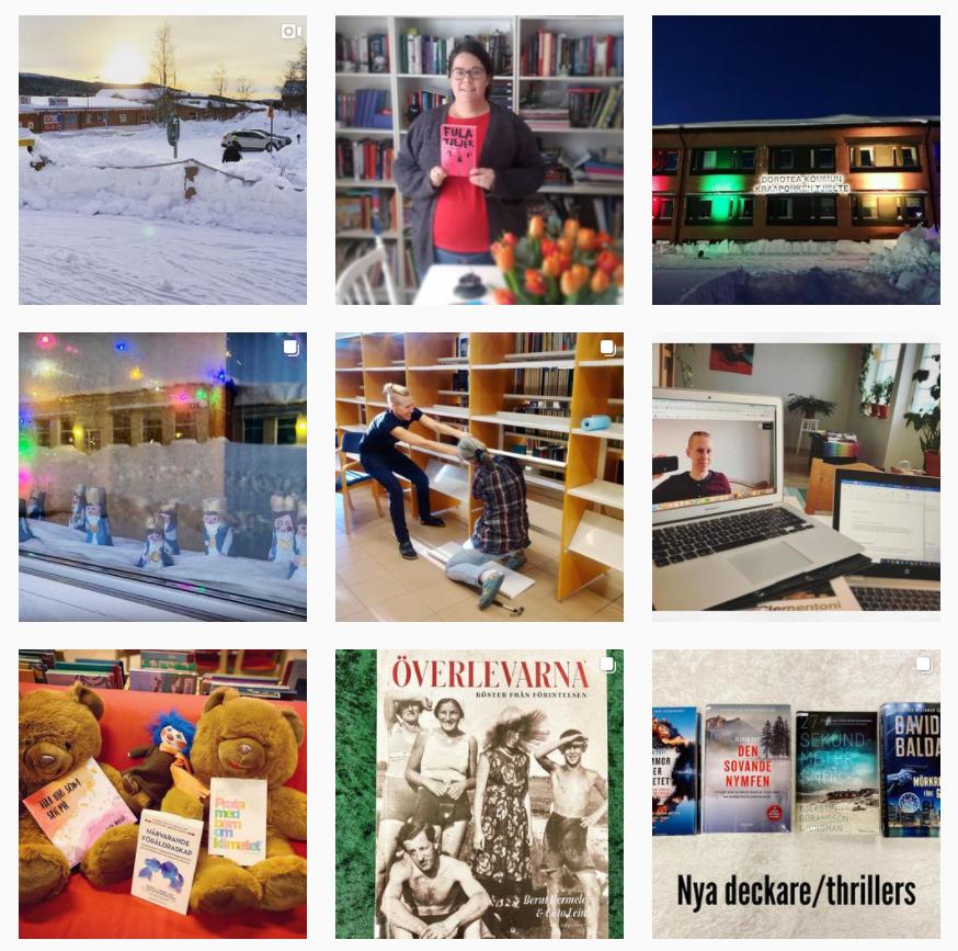 Nio bilder från Instagram: Snölandsskap, bokhyllor.