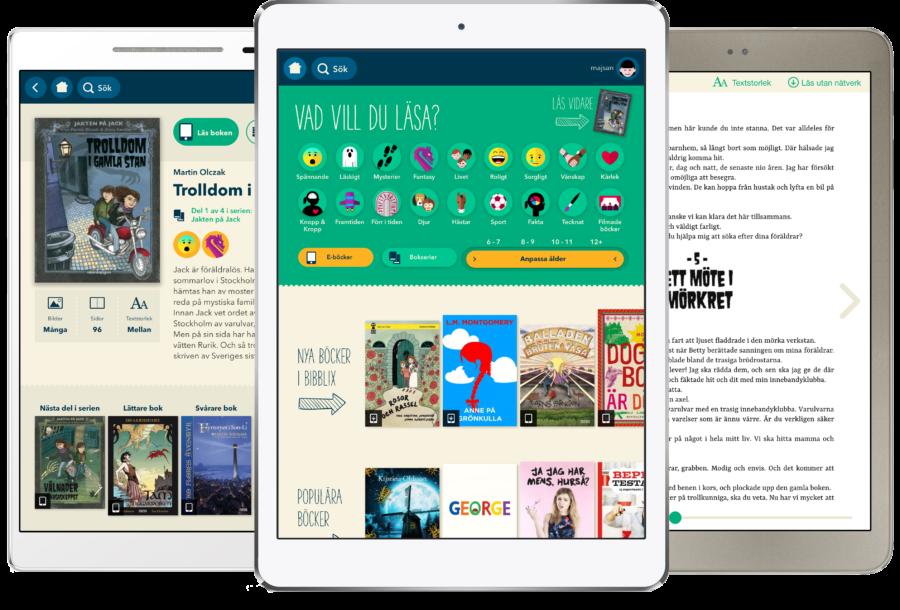Bibblix på iPad, meny- och läsningsvy