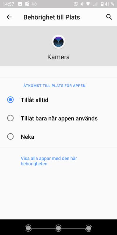 Androidtelefon: Meny för åtkomst av plats: åtkomst av plats alltid tillåtet valt.