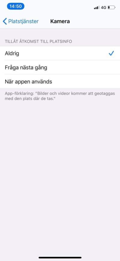iPhone: Inställningar: Kamera: Tillåt aldrig åtkomst till patsinfo är valt