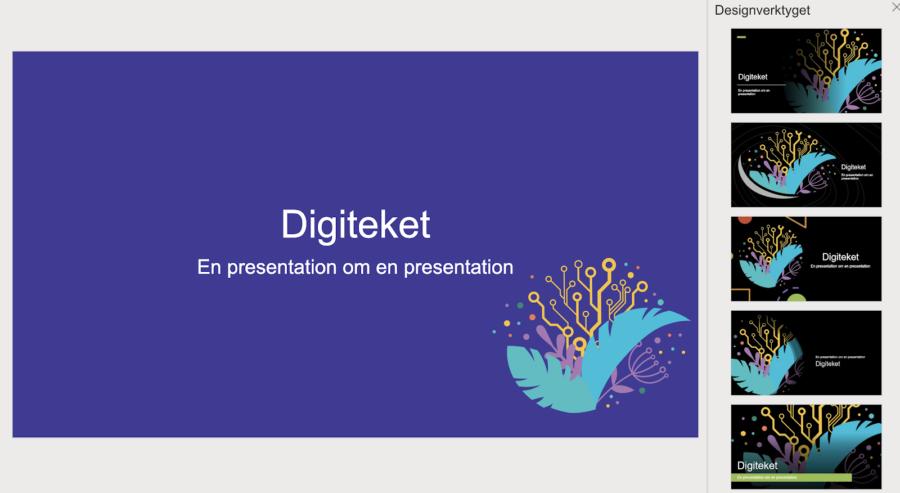 Powerpoint: Designmeny: Designverktyget föreslår layout utifrån grafiska element