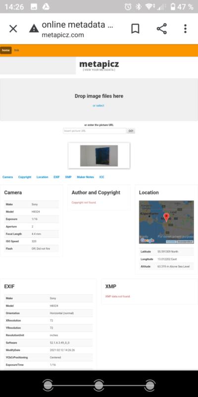 Skärmdump från metapicz.com. Metainformaion för bild på tavla visas. Platsinformsation med kartbild visar exakt. var bilden är tagen