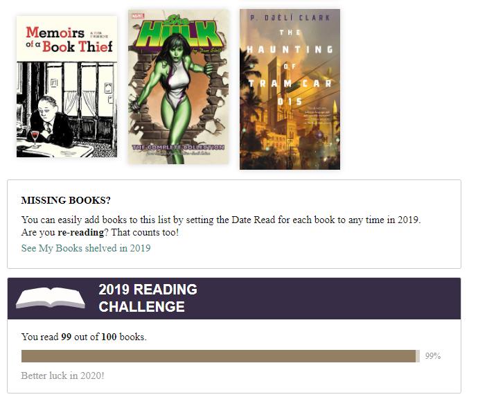 Skärmdump från Goodreads, 99 of 100 books read.