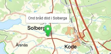Kartutssnitt med grön plupp som säger Ond bråd död i Solberga.
