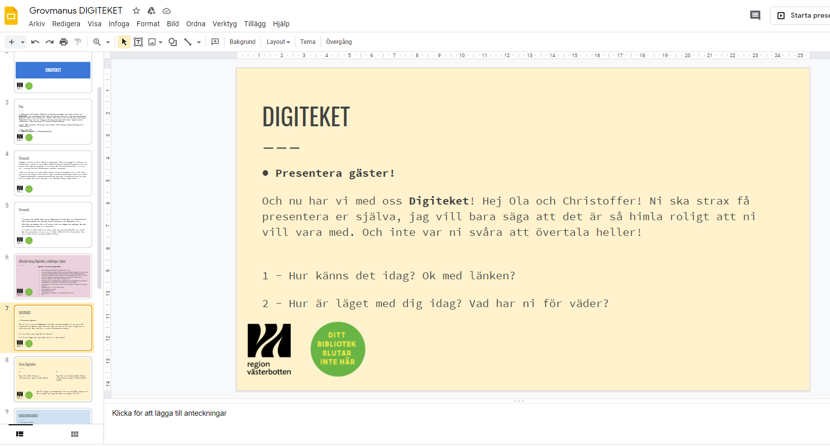 Presentationsfil: Text: presentera Digiteket.