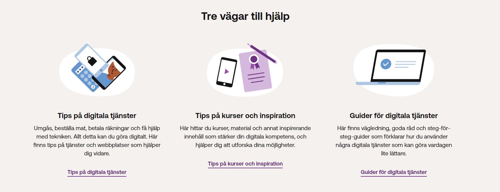 Skärmdump Digitalhjälpen: Tre vägar till hjälp: Tips på digitala tjänster, Tips på kurser och inspiration, Guider för digitala tjänster