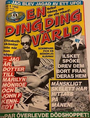 Omslag tidningen En Ding Ding Värld. Rubrik: Ilsket spöke drev dem bort från deras hem.