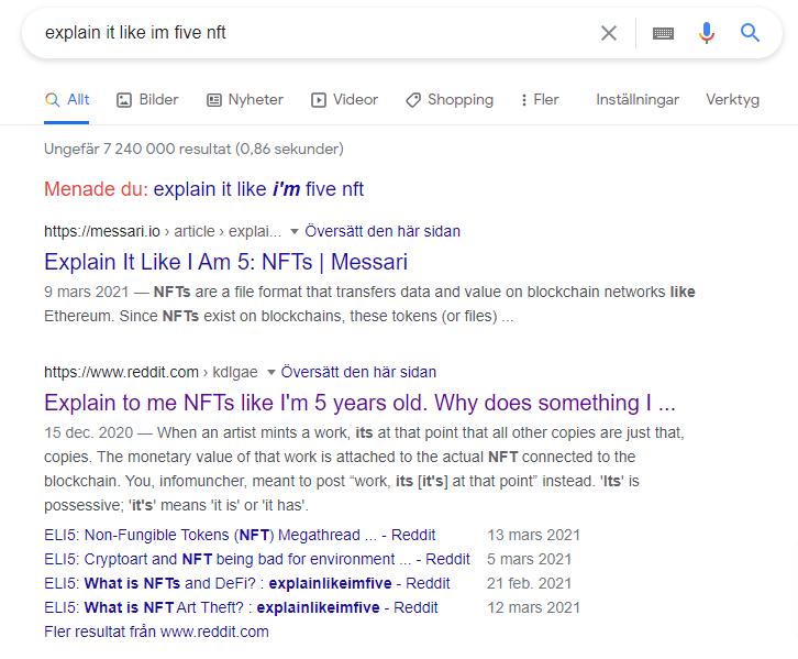 """Flera sökträffar på Google på sökningen """"explain like i'm 5 nft""""."""