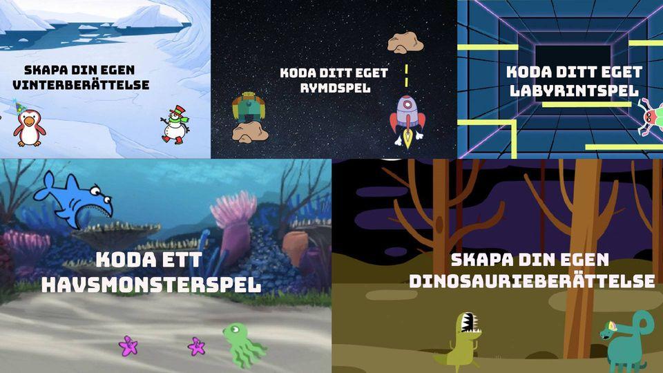 Datorspelsbilder i kollage: Skapa din egen vinterberättelse, koda ditt eget rymdspel, koda ditt egeet labyrintspel, koda ett havsmonsterspel. skaoa din egen dinosaurberättelse.