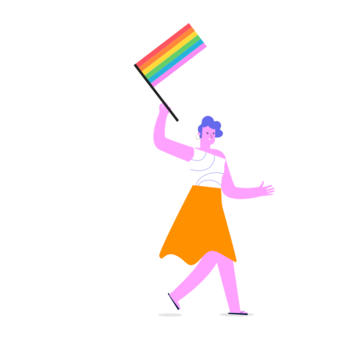 Figur i kjol som håller Prideflaggan