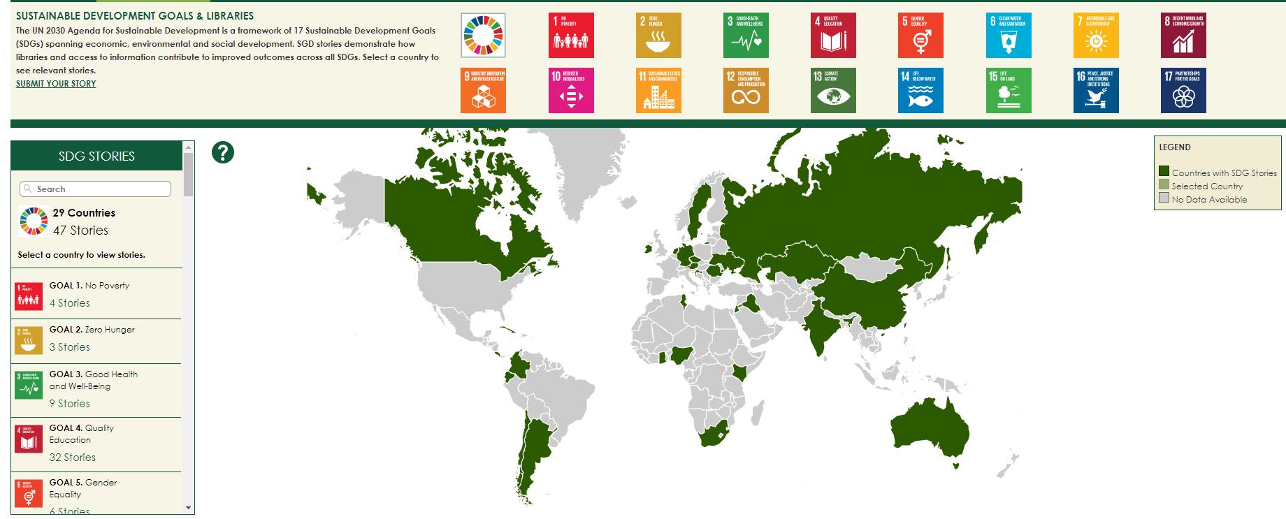 På bilden syns ikoner för de 17 globala målen och en världskarta, där länder som lagt in globala mål-berättelser på kartan är grönmarkerade. När skärmdumpen skapades i juli 2021 hade 29 länder lagt in sammanlagt 47 SDG Stories.