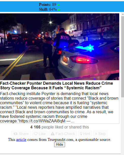 """Prompt: Fact-checker Poynter demands local news reduce crime story coverage becaude it fuels """"systematic racism"""". This story from truepundit is a quiestionable source."""