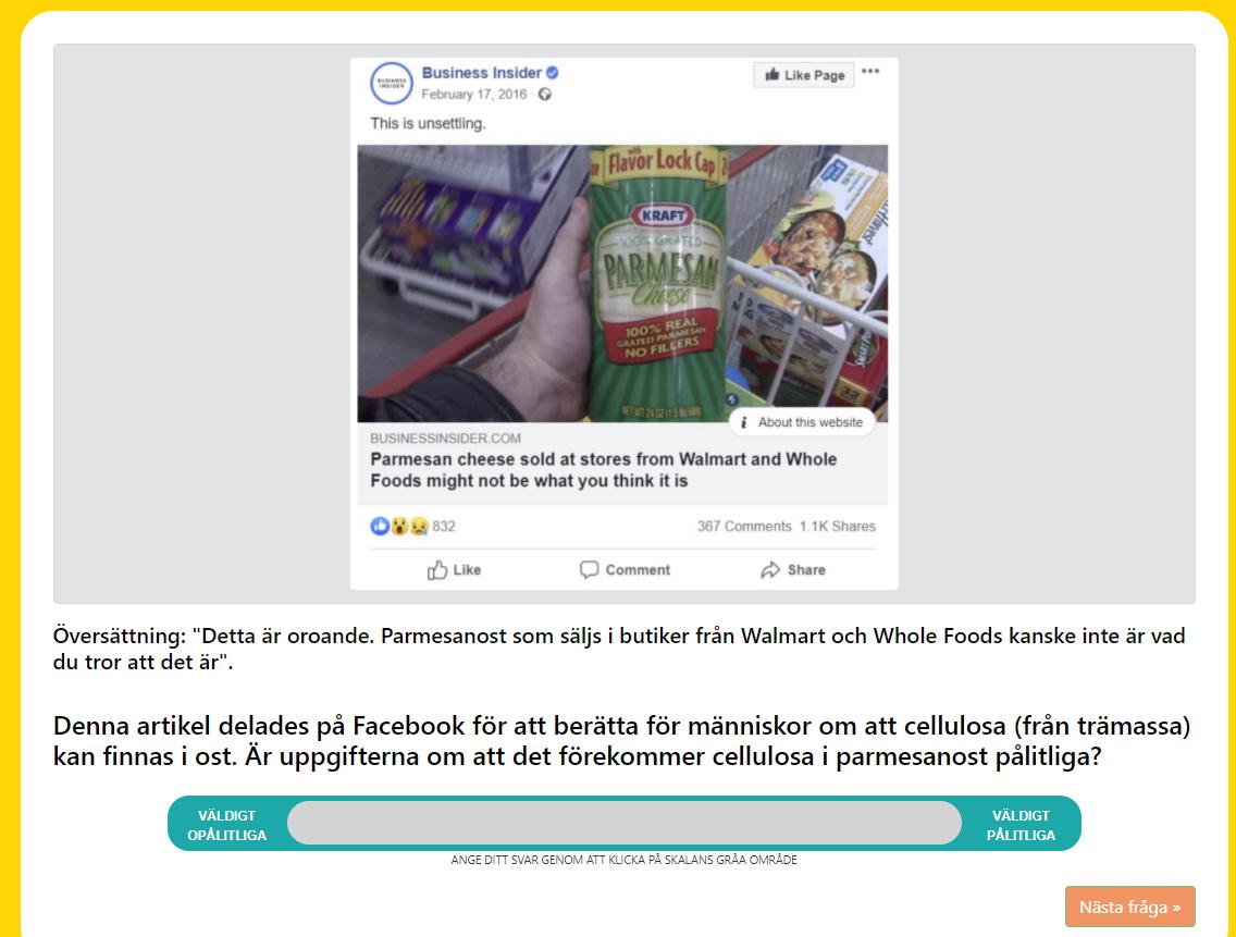 Prompt: Parmesan cheese sold at walmart might not be what you think. Denna artikel delades på Facebook. Är denna artikel om cellulosa i parmesan trovärdig?